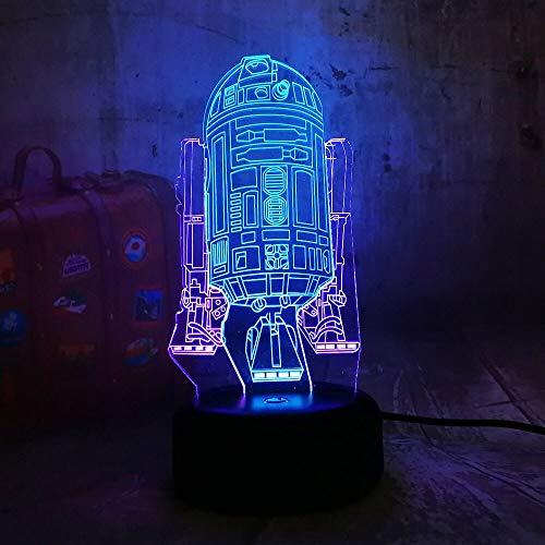 Jiushixw 3D acryl nachtlampje met afstandsbediening, kleurverandering, tafellamp, ruimteschip, double mixed gloss kind verjaardag touch lamp tafellamp