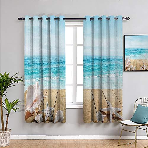 Seashells Premium Cortinas opacas de 160 cm de largo con conchas marinas sol vacaciones playa tema protección muebles arena marrón claro beige 52 cm de ancho x 63 pulgadas de largo