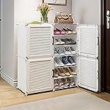 Actualizar el gabinete de zapatos 3D, 2 columnas Estante de zapatos apilable de 6 niveles, for el equipo de zapato de la zapata de la entrada Almacenamiento de zapatos Soporte de zapato vertical Cubby
