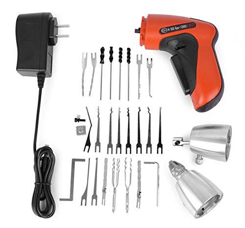Borisen, K303,schnurloses, elektrisches Schlosser-Werkzeug-Set mit Lederpolster, Dietriche