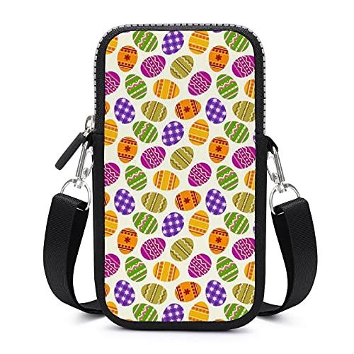 Bolso bandolera para teléfono móvil con correa de hombro extraíble, huevos florales de Pascua, resistente al desgaste, para llaves, bolso de muñeca, bolsos al aire libre, unisex
