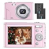 Digital Camera - Compact Vlogging Camera 1080P with 36.0 Mega Pixels 16X Digital Zoom, 2 Batteries, AUFOYA Portable Mini Camera for Photography, Kids, Students, Teens, Adult (Pink)