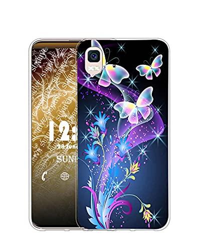Sunrive Kompatibel mit BQ Aquaris E5s/E5 Hülle Silikon, Transparent Handyhülle Schutzhülle Etui Hülle (Q Schmetterling 2)+Gratis Universal Eingabestift MEHRWEG