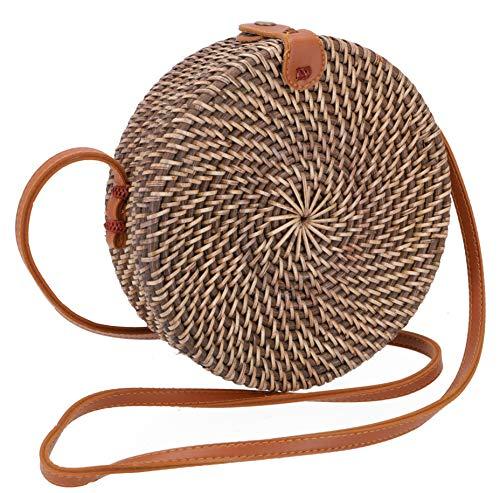 Guru-Shop flätad handväska, korgväska, rottingväska, balväska rund, 20 x 20 x 7 cm, korg och korg hellbraun Modell 1