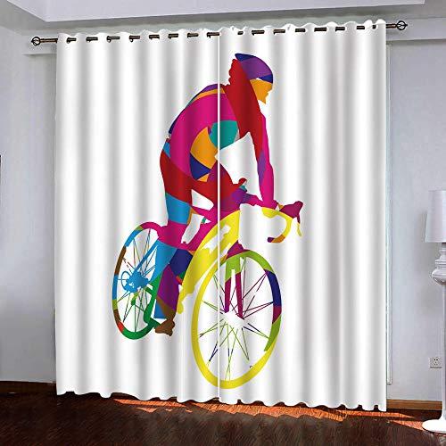 zzttyyz Gordijnen verduisterende fiets oefening Geïsoleerde Gordijnen Plissé Gedrukt Potlood Pleat Eyelet Gordijnen 100% Polyester Microvezel Thermische voor Slaapkamer woonkamer