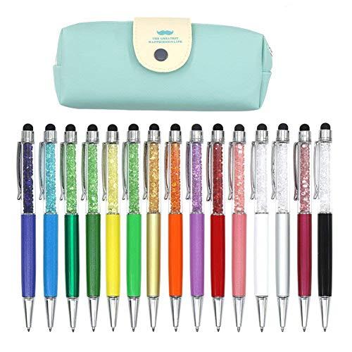 Laconile Set di 15 penne a sfera, con punta retrattile e penna capacitiva, decorata con strass e cristalli, con astuccio Black Ink