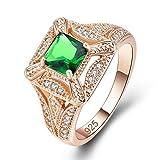 YAZILIND Anillo de Zirconia cúbico Verde Brillante incrustado rhiestone Oro Plateado Compromiso Boda Joyas Regalo para Mujeres tamaño 19, 5