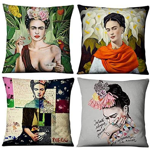 Adecuado para Frida Kahlo, paquete de 4 fundas de almohada, cojín de lino para sofá de pintor mexicano, cojín decorativo para sofá de casa y coche 40x40cm / 45x45cm / 50x50cm