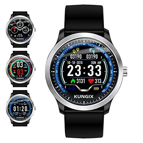 KUNGIX Pulsera Fitness, Smartwatch Reloj Inteligente Resistente al Agua Reloj Fitness Tracker, Reloj de Pulsera para Hombre Monitor de Ritmo cardíaco SMS Nota Reloj Deportivo para Android iOS