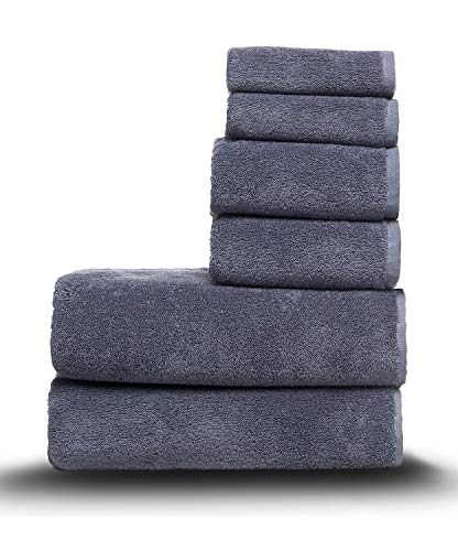 Arus Juego de 6 toallas, 2 toallas de cara (33 x 33 cm), 2 toallas de mano (40 x 70 cm) y 2 toallas de baño (70 x 140 cm), 100% rizo de algodón, 500 g/m², color gris