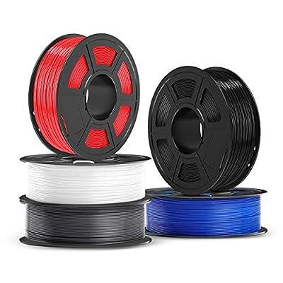 PETG Filament 1.75mm, JAYO PETG 3D Printer Filament 5kg Spool (11 lbs), Accuracy +/- 0.02 mm, Stable Output Fit Most FDM Printers, PETG Black+White+Grey+Red+Blue