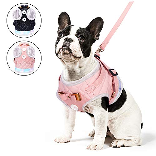 PetsHome Dog Harness and Leash, Cat Harness & Leash Set, Adjustable Leather Pet Harness with Leash for Outdoor Walking for Small Dog and Cat Extra Small Pink