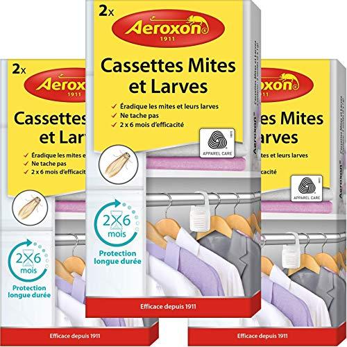 Aeroxon - Cassettes Mites et Larves - 3x2 pièces - Piège à Mites fiable, Solide et Rapide Contre Les Mites des vêtements - Protection Contre Les Mites dans Les Garde-Robes de