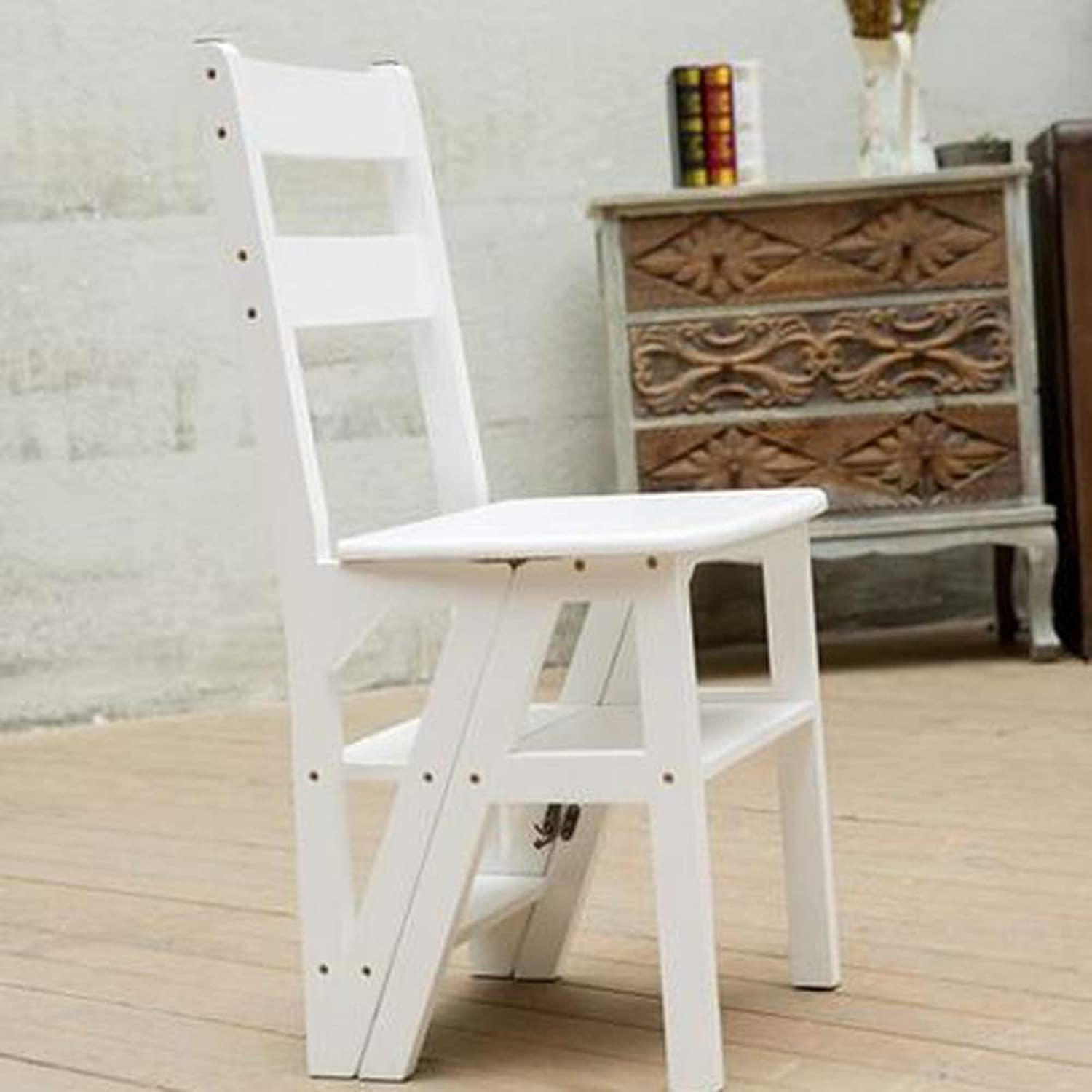 Stepstools Natural Wood Multi-Functional Congreenible Folding Library Ladder Chair Four-Step Stool 35x18.1x15.7inches (color   White)