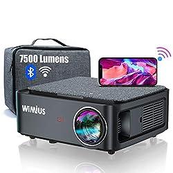 💖【7500 Lumens Vidéoprojecteur WiFi Bluetooth Full HD 1080P Supporte 4K】Ce dernier Vidéoprojecteur Full HD 1080P WiMiUS K1 est livré avec une Sacoche. Il possède une résolution native 1920*1080p, une haute luminosité 7500 lumens, et un ratio de contra...