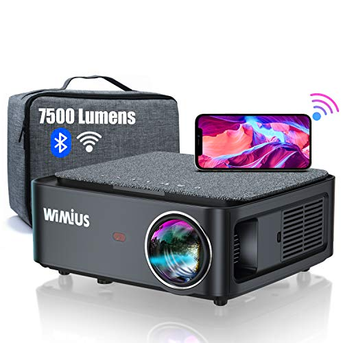 Proyector WiFi Bluetooth Full HD 1080P, 7500 Lúmenes WiMiUS Proyector WiFi Bluetooth 1080P Nativo Soporte 4K Ajuste Digital 4D Función de Zoom Proyector WiFi Cine en Casa para PPT,PS4,TV Stick,etc.