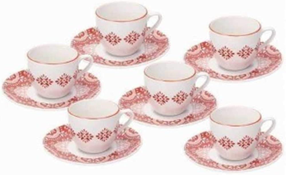 Tognana, metropol coral set di 6 tazzine da caffe` con piattino , in porcellana