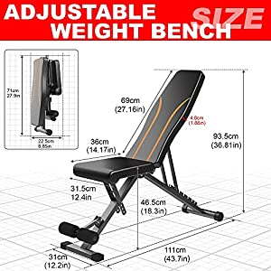 Adjustable Weight Bench Foldable Workout Bench for Full Body Workout Strength Training Benches Multi-Purpose Flat/Incline/Decline Exercise Bench for Home Gym