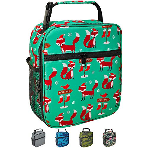 Kids Lunch box Reusable Insulated Cooler Lunch Bag Leakproof Office Work Picnic School Meal Lunch Box with Multi-Pockets for Men Women (Green Xmas Fox, Small)
