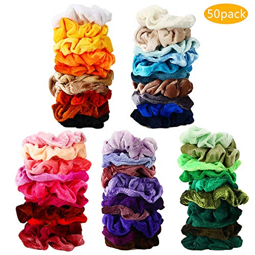 Price comparison product image 50 Pcs Hair Scrunchies Velvet Elastic Hair Bands Scrunchy Hair Ties Ropes Scrunchie for Women or Girls Hair Accessories