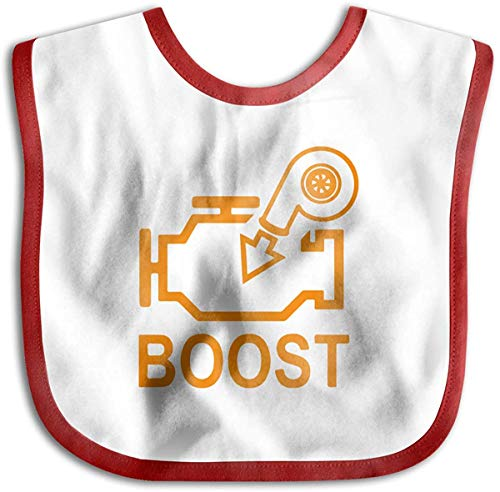 Boost Check Engine Light - Turbo Toddler Newborn Boys Girls Skin-Friendly Saliva Towel Baby Bibs-Red