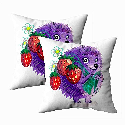 Juego de 2 fundas de almohada para exteriores, 45,7 x 45,7 cm, diseño de erizo, fresas, acuarela, decoración del hogar, fundas de almohada con cremallera para sofá
