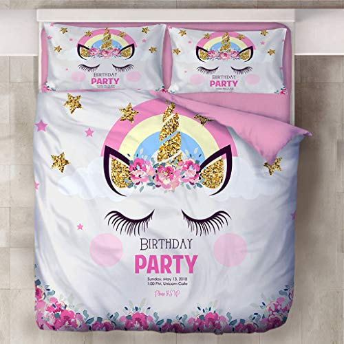 Juego de funda de edredón para niños, diseño de unicornio, color rosa con fundas de almohada, funda de edredón suave de microfibra cepillada para niños pequeños (A,135 x 200)