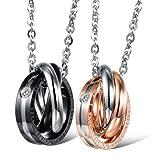 Paar Halskette Rings Anhänger Edelstahl Rosegold Schwarz Verliebte mit Gravur für Sie und Ihn Valentinstag, Jubiläumsgeschenk (MEHRWEG)