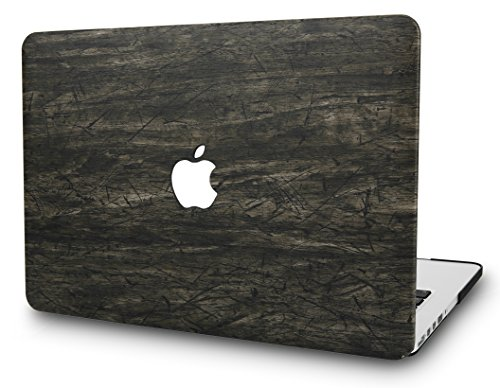 KECC MacBook Pro Retina 15 Inch Case (2015)Leather Cover Folio Italian Pebble Leather A1398 (Brown Wood Leather)