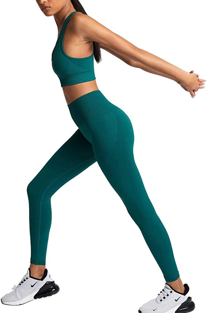 Women's Workout Outfits 2 Pieces Yoga Set Gym Exercise Seamless Yoga Leggings with Sports Bra Fitness Activewear