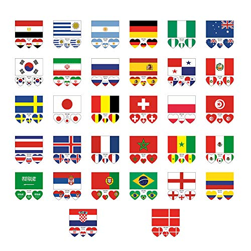 Moent Face Sticker 32Pcs Tattoos wasserdichte Face Body Aufkleber für 32 Länder Flag Stickers Home DIY