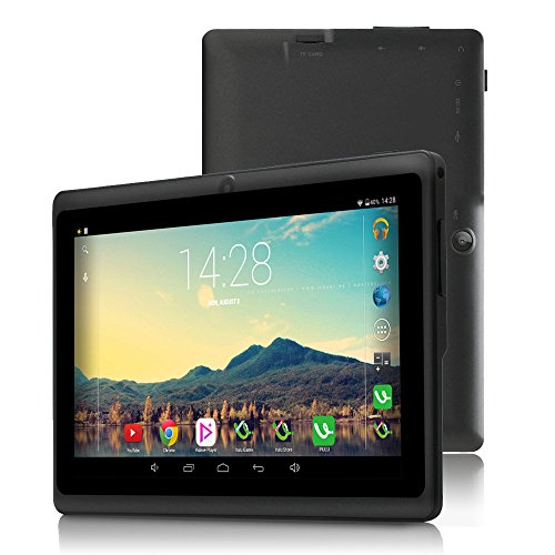 7' Tablet Google Android 6.0, Quad Core,1024x600, Dual Camera, Wi-Fi, Bluetooth,1GB/16GB,Play Store Netfilix Skype 3D Game Supported, GMS Certified with One Year Warranty,iRULU X37-Black