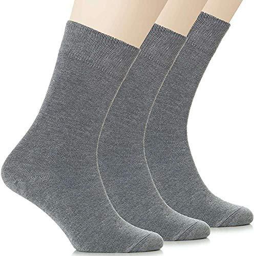 HaraDeco Pack 9 Pares Calcetines Escolar/Sport Corto Liso de Algodón para Uniformes y Deporte (Gris, 35-38)