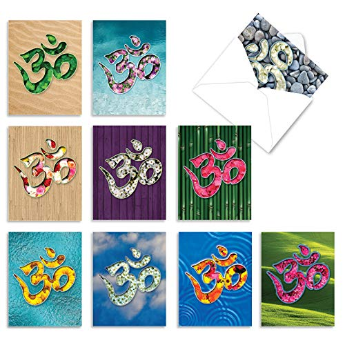 The Best Card Company - 10 Zen Blank Greeting Cards Assorted (4 x 5.12 Inch) - OM Blooms M3971