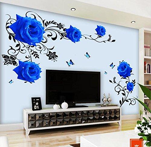 HALLOBO® Wandtattoo Blau Rosen Ranke XL Blumen Wandaufkleber Wandsticker Wohnzimmer Schlafzimmer Deco Wall Sticker Dekor