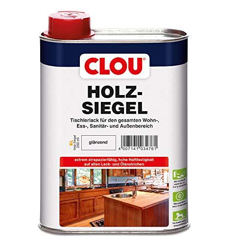 CLOU Holz-Siegel Tischlerlack: Premium Klarlack zur Lackierung von Möbeln, Treppen, Parkett und im Garten, glänzend, 0,25 L