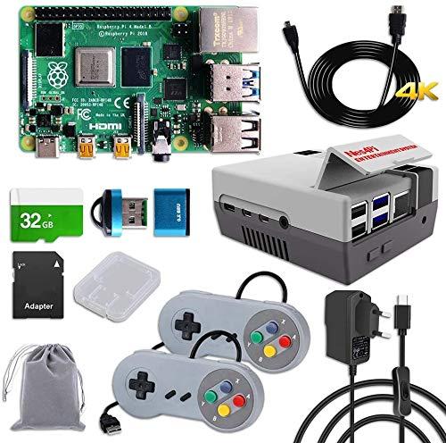 DVOZVO Raspberry Pi 4 Retro Gaming Kit con controlador SNES y carcasa NES (4 GB de RAM)