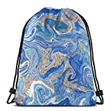 BXBX Plegable Bags Rainbow Ink Texture Hand Drawn Marbling Drawstring Bag, Drawstring Backpack for Picnic Gym Sport Beach Travel Storage