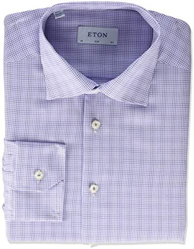 Eton Slim Fit Double Checked Twill Shirt Purple 16 5 product image