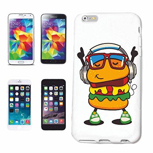 Reifen-Markt Hard Cover - Funda para teléfono móvil Compatible con Apple iPhone 4 / 4S Hamburguesa del Cheeseburger de Comida rápida con Auriculares Y Jazz VIDRIOS