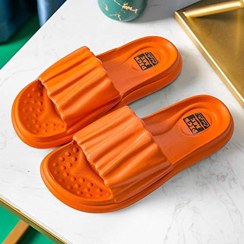 HUSHUI Gartenschuhe Home Slippers,Bad Hausschuhe mit weichen Sohlen, dickbesohlte Sandalen für Paare zu Hause-Orange_35-36,Unisex Sommer Flip Flop