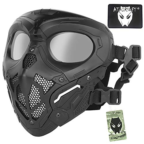 ATAIRSOFT Protective Airsoft Military Tactical Paintball Full Face Ninja Skull Mesh Mask with PC Lens Eye for Halloween Cosplay Hunting Shooting Outdoor Sports Black