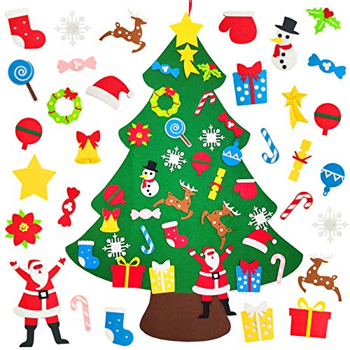kockuu 32PCS Felt Christmas Tree for Kids Toddlers Children 3.1ft DIY Felt Xmas Tree for Wall Christmas Decorations