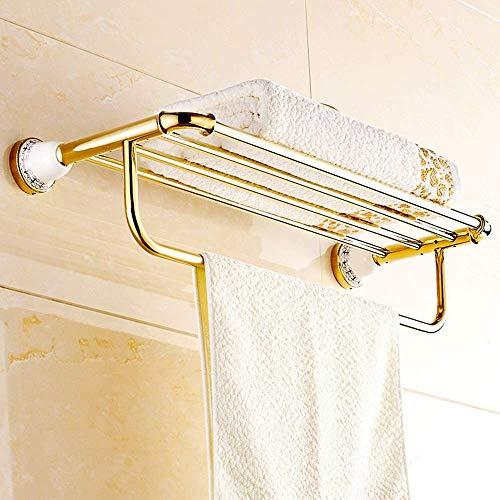 L-YINGZON Toalla Bastidores Toalla de Oro Rosa Stand de Toallas de baño de Cobre Hardware Colgante de la Barra de Toalla Soportes de Toallas Europea Antiguos Toalleros Accesorios de baño