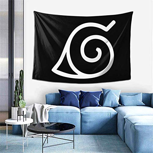 REFINY Na-ru-to Konoha Leaf Symbol Tapestry Wall Art Home Decor Wall Hanging for 60 X 40 Inch