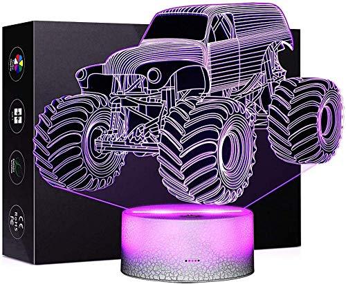 3D luz nocturna monstruo camión 3D ilusión noche lámpara 16 colores cambio automático interruptor táctil escritorio regalo cumpleaños con control remoto