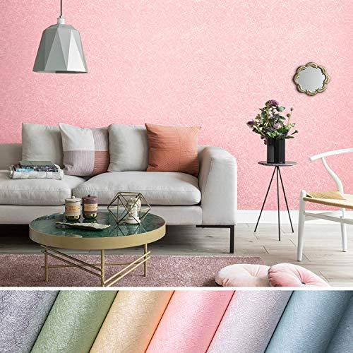 KINLO 5 Pcs Selbstklebend Tapete wasserfest Wandtapete mit Seidenfaden Muster 61 x 500cm Wandaufkleber Klebefolie für Wohnzimmer TV Hintergrund Wand (Pink)