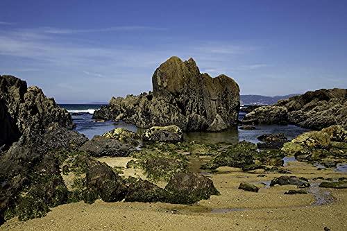 """MX-XXUOUO Spain Coast Stones Ribeira Galicia Moss Crag, Puzzle de Madera de 1000 piezas-29.5""""x19.7"""""""