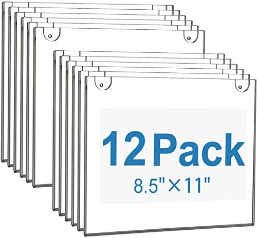 MaxGear Acrylic Sign Holder 8 5 X 11 Wall Mount Sign Holder Clear Plastic Picture Frames with product image