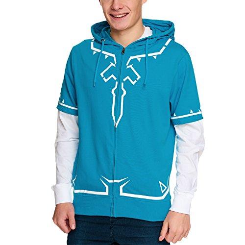 Zelda Kapuzen Jacke Link Outfit Breath of the Wild Nintendo Baumwolle blau weiß - L